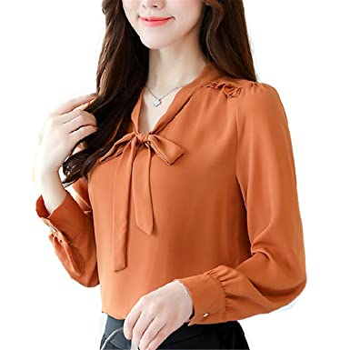 OUXIANGJU Women Spring Solid Long Sleeve Shirts Plus Size Tops Casual Bow V-Neck Chiffon