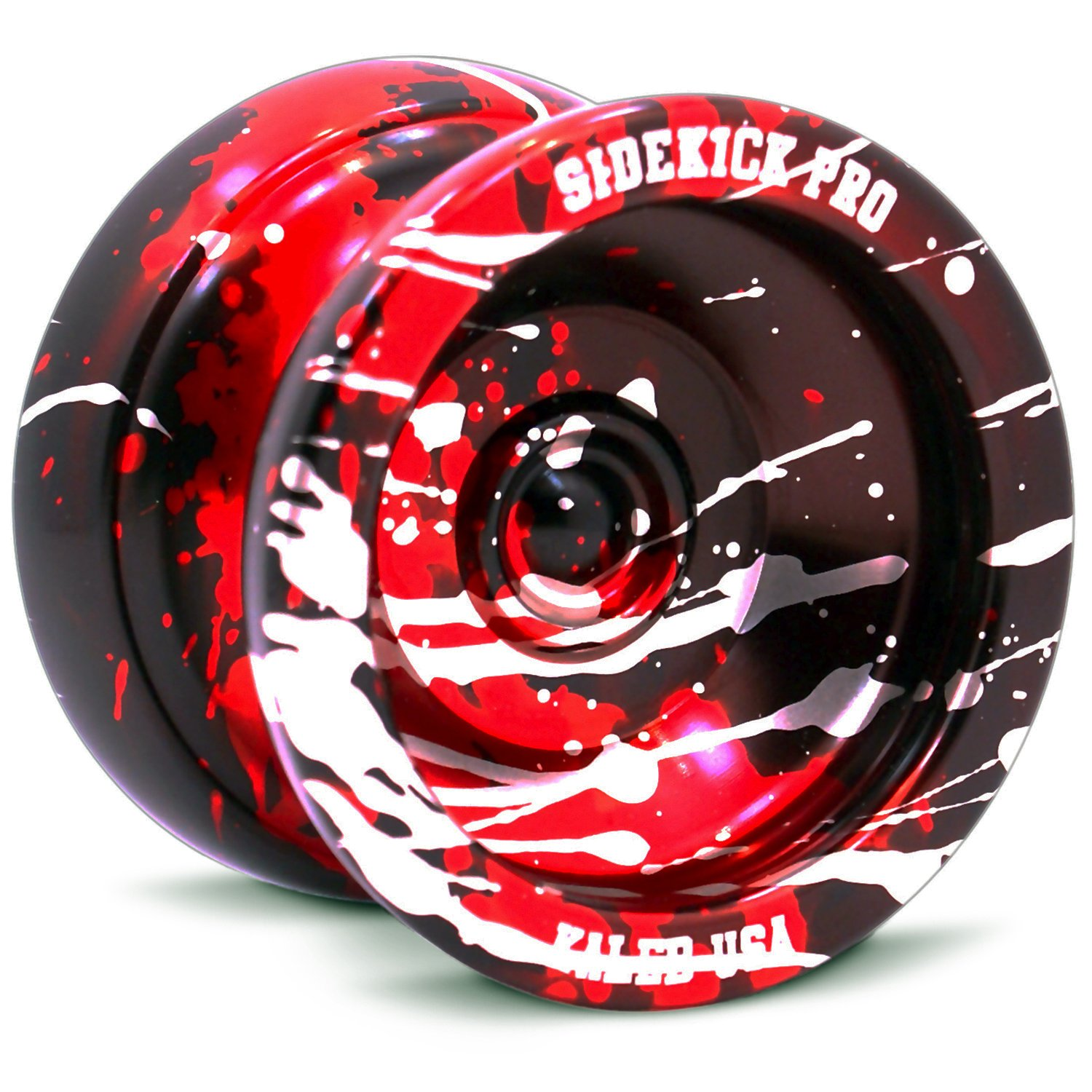Black Red Silver Splashes Yo-Yo Professional Aluminum Sidekick Pro YoYo by Sidekick Yoyo