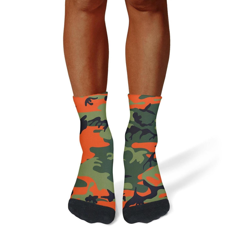 XIdan-die Mens Athletic Crew Socks orange camo Moisture Wicking Casual Socks
