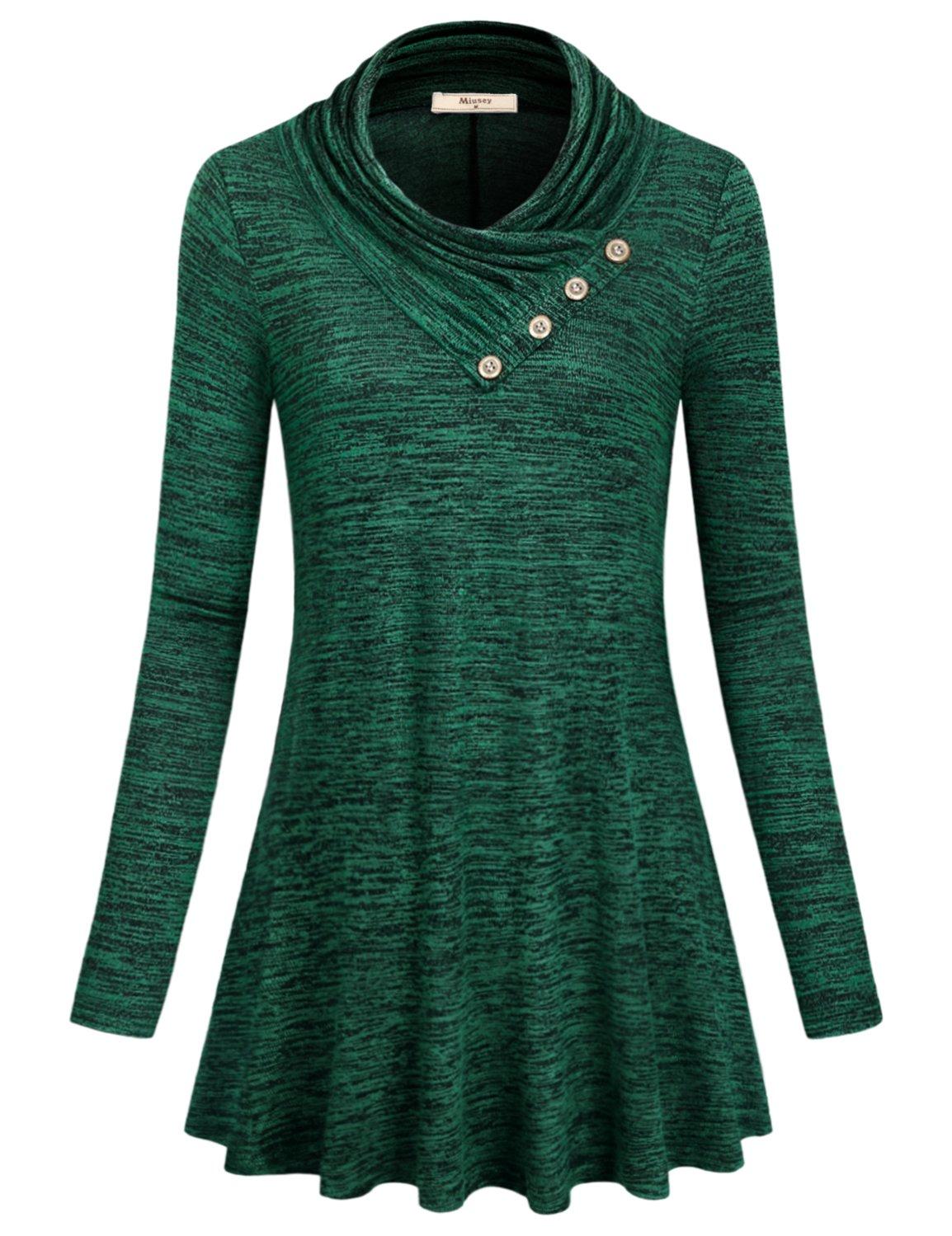 Miusey Mom Swearshirt, Womens Fashion 2018 Shirt Turtle Neck A line Flowy Vintage Surrounding Cowl Neck Full Length Daily Wear Cute Outfit Trendy Fashion Jersey Sweatshirt Green XL