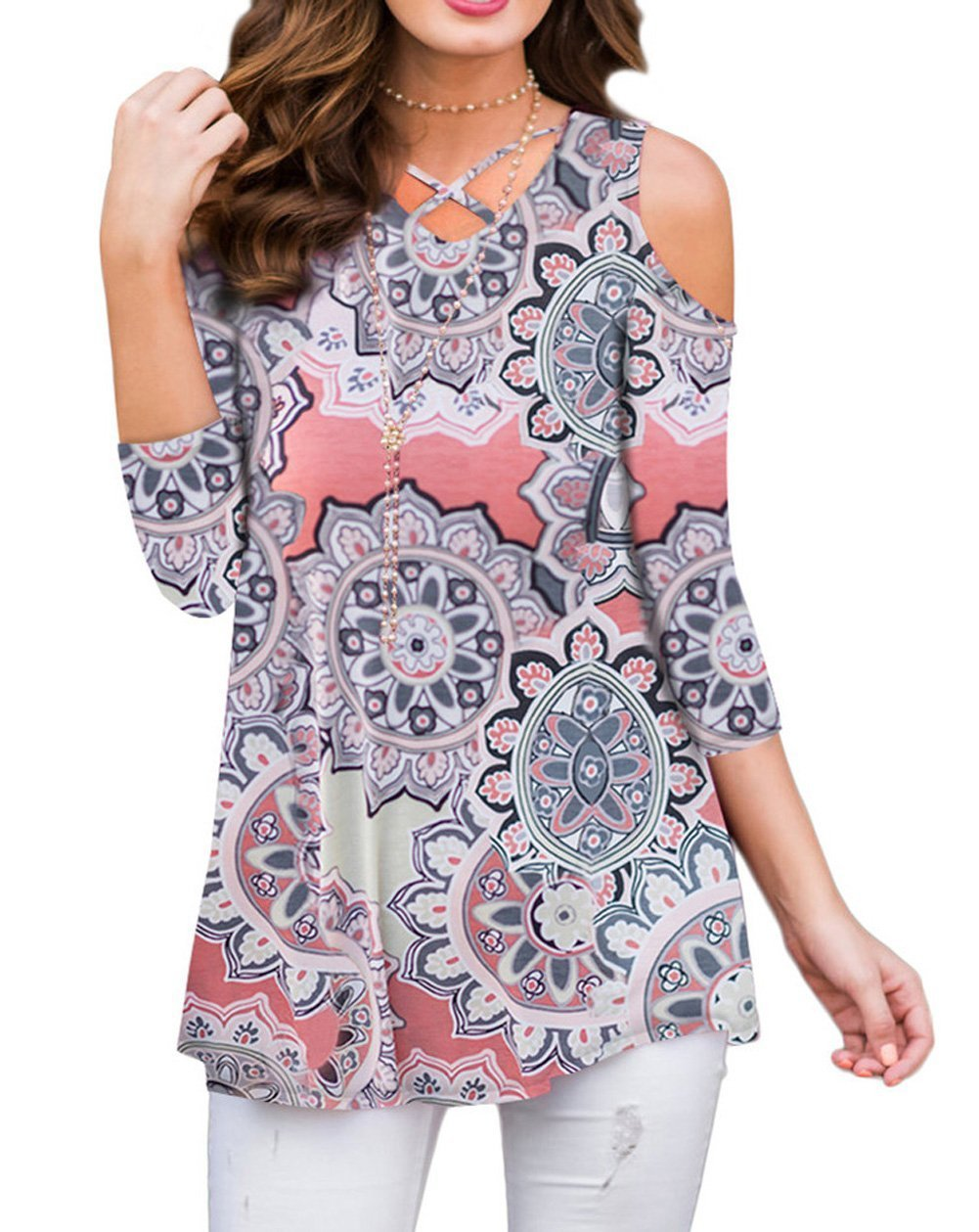 ZZER Women Casual 3/4 Sleeve Floral Print Cold Shoulder Tunic Tops V-Neck Criss Cross T-Shirts Blouses(3/4CoralPeach,L)