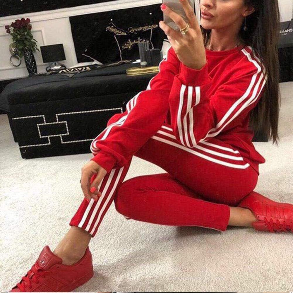 Tidecc Women Tracksuit Set Long Sleeve Side Striped Full Tracksuit Sport Jogging Suit Gym Workout Outfit Playsuit 4 Colors