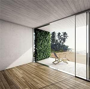 Aliyz 8x8ft Casa Moderna Fondo de Sala de Estar vacía Casa Playa de Verano Playa Habitación con Vista al mar Piso de Madera Gran terraza Telón de Fondo Photo Studio Props: Amazon.es: