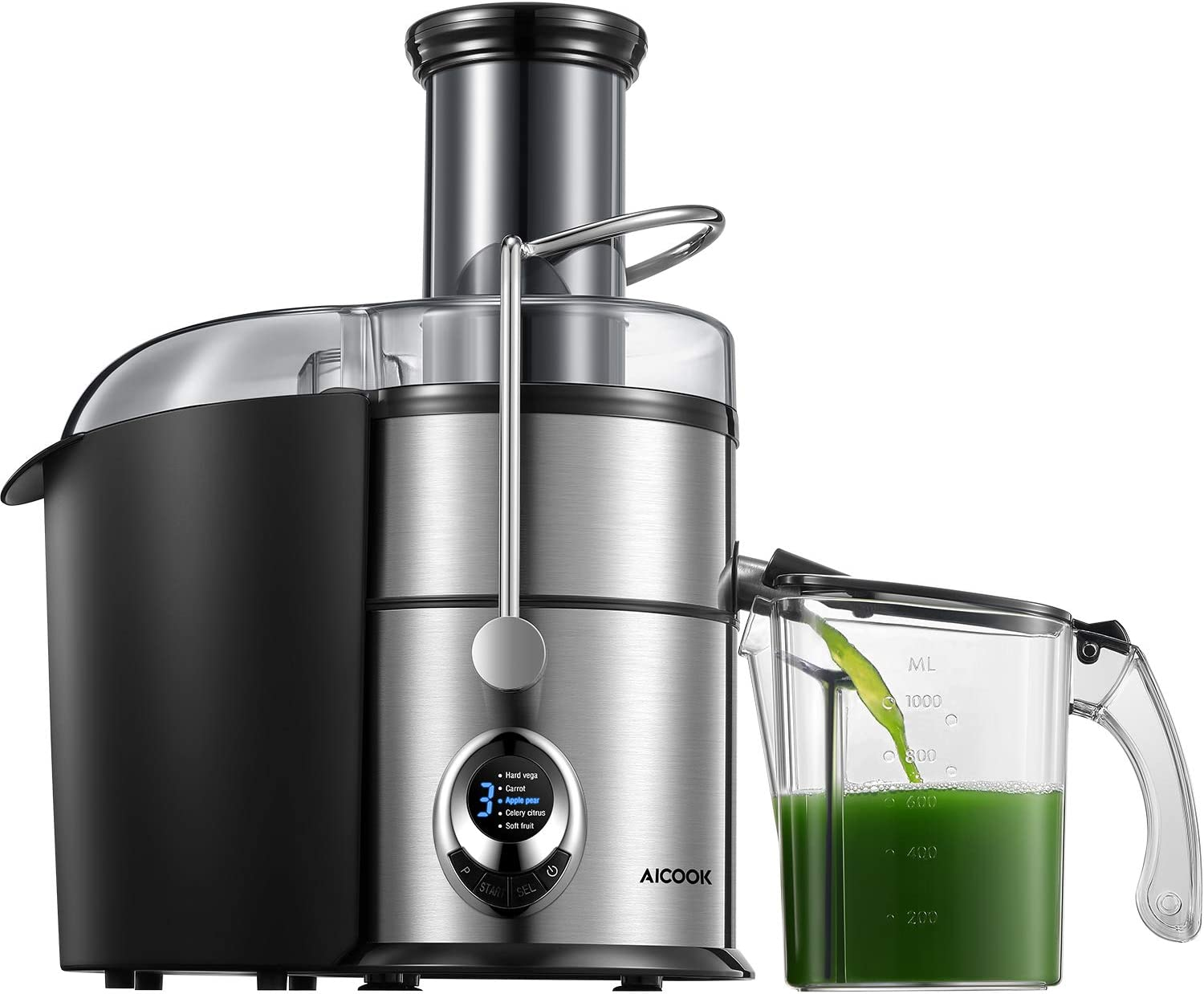 Juicer Machines, Aicook 800W Juice and Vegetable Extractor 5-Speed Touch Screen, 3.1'' Big Mouth Centrifugal Juicer, Easy to Clean, Quiet Motor, Non-Slip Feet, BPA-Free