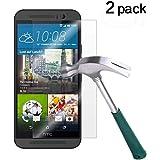 HTC One M9 Screen Protector, TANTEK [Bubble-Free][HD-Clear][Anti-Scratch][Anti-Glare][Anti-Fingerprint] Tempered Glass Screen Protector for HTC One M9 / HTC M9 [2015],-[2Pack]