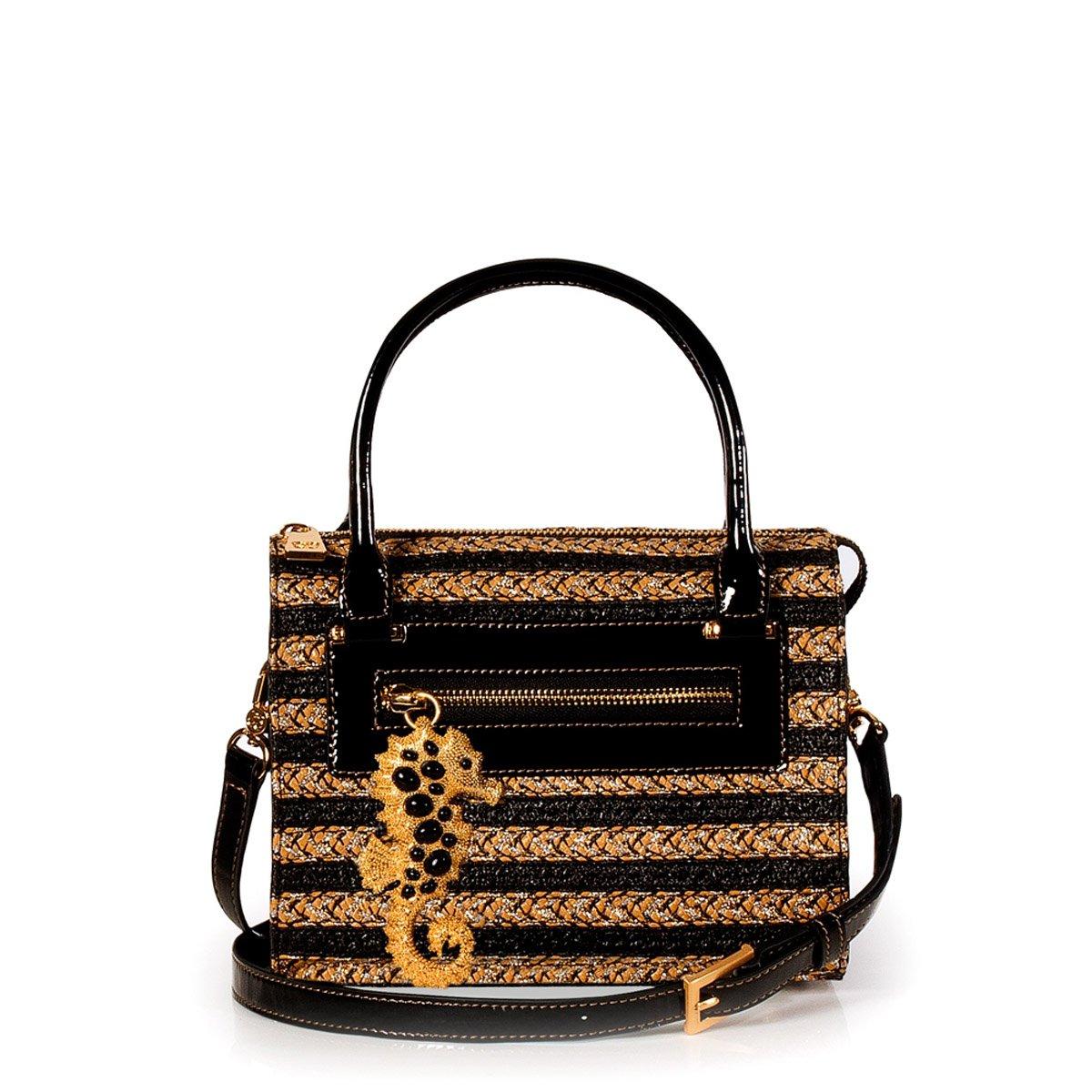 Eric Javits Luxury Fashion Designer Women's Handbag - Rio - Sulfate/Black