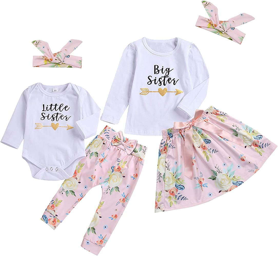 Big//Little Sister Newborn Kids Baby Girl Romper Bodysuit T shirt Clothes Outfits