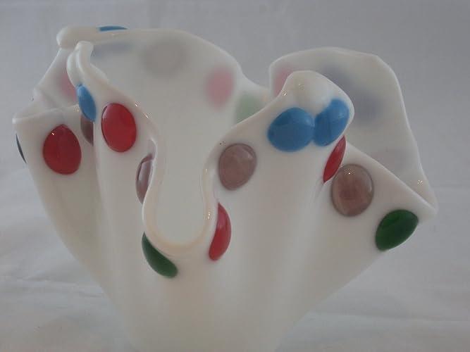 Amazon Funky White Fused Glass Vase Handmade