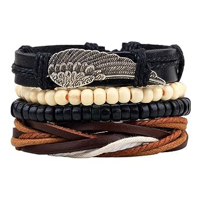 MJARTORIA Unisex PU Leather Hemp Cords Beaded Multi Strands Adjustable Wrap Bracelets Set of 4 B0q4tjm