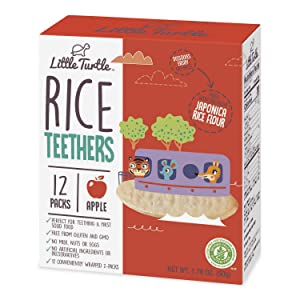 Little Turtle Rice Teethers, Apple Flavor, 12 wrapped 2 Pack, 4 Count
