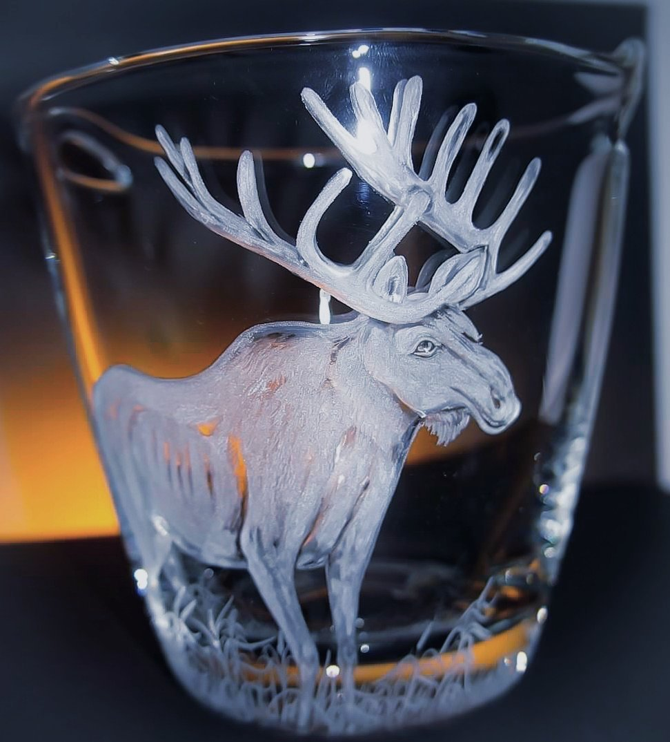 Hand Engraved Ice Bucket Moose Elk, Engraved champagne bucket, Mancave gifts, Engraved Barware, Groomsmens gifts, Wedding Gifts