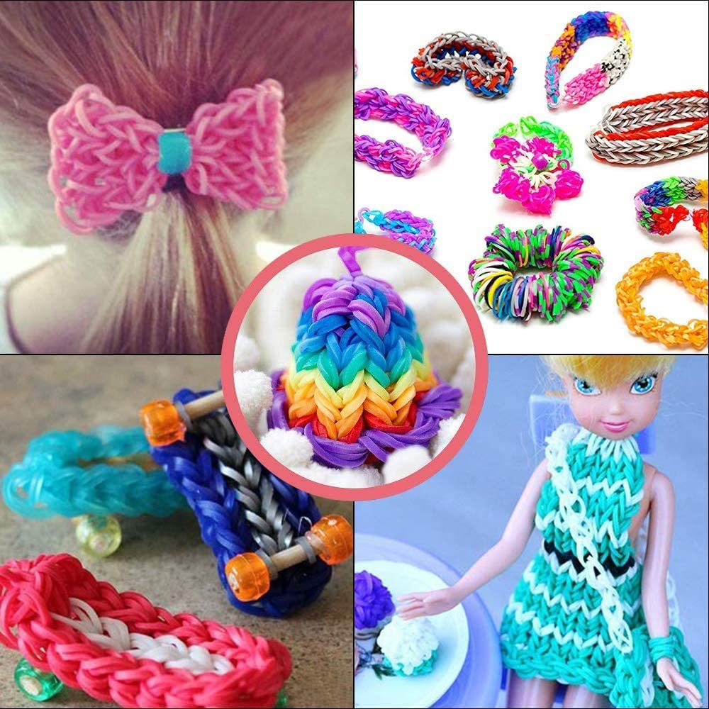 250 Beads ABC Stickers to Personalize Your Case 550 Clips,5 Backpack Hooks Rainbow Rubber Bands 45 Charms 2 Y Loom,2 Crochet MorNon 11750+ Colorful Bands Refill Loom Kit 11000 Loom Bands