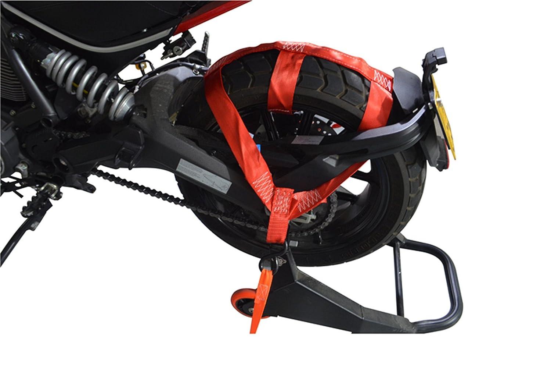 MOTO4U Universal Motorcycle Rear Wheel Tie down Strap in Black T AND M RACING