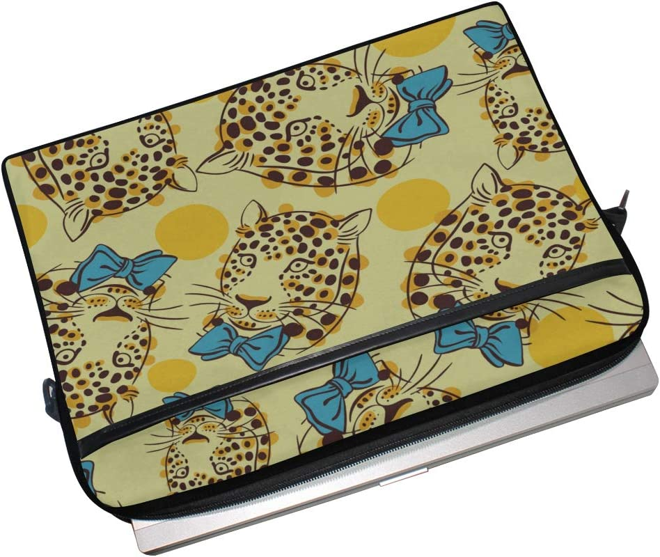 Laptop Bag Muzzle Trendy Leopard Bow 15-15.4 Inch Laptop Case Briefcase Messenger Shoulder Bag for Men Women College Students Business People Offic