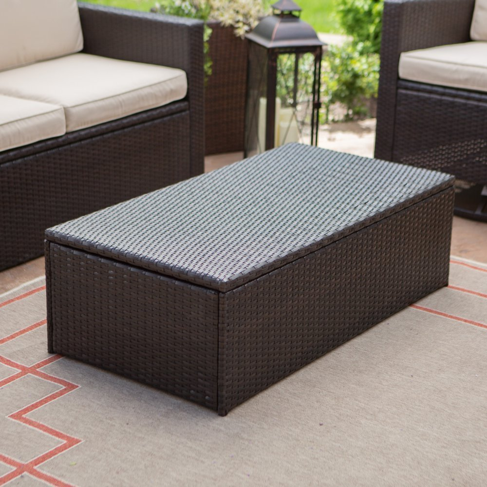 Amazoncom Coral Coast Berea Outdoor Wicker Storage Coffee Table - All weather wicker side table