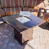 Belleze Gas Outdoor Fire Pit Glass Table with Hammered-Bronze Finish, 40,000BTU, CSA