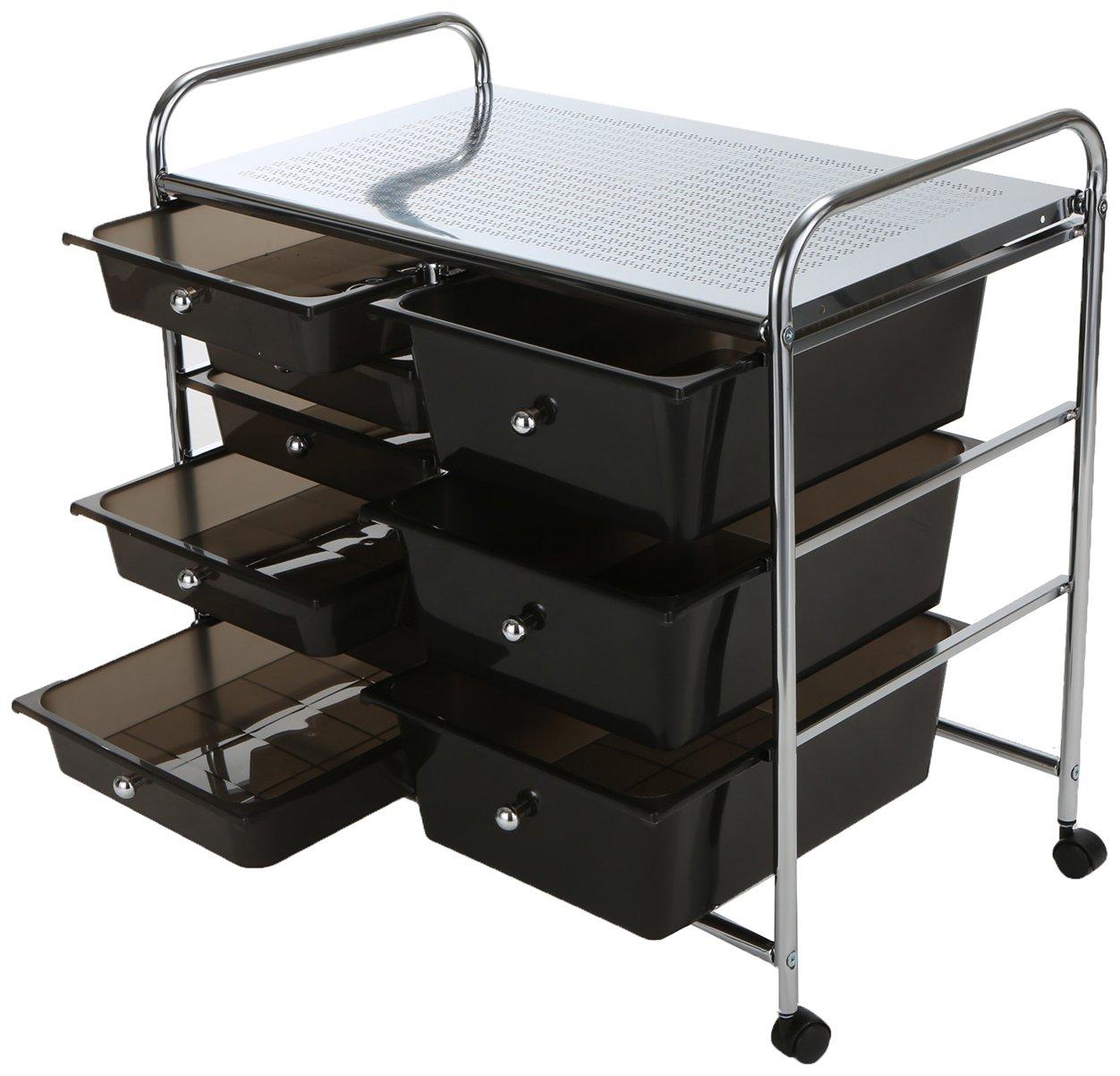 Mind Reader Storage Drawer Rolling Utility Cart, 9 Drawer Organizer, Black by Mind Reader