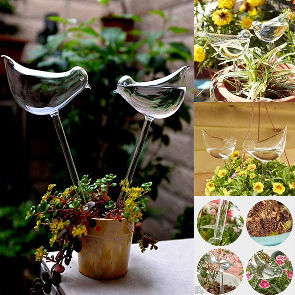 m·kvfa 4PC Plant Waterer Outdoor Garden Automatic Watering Device Glass Bird Shape Flower Watering Sprinkler Plants Self-Watering Stakes Globes Indoor by *m·kvfa* Garden
