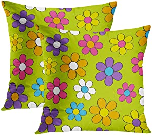 Sgvsdg 1960S Set of 2 Throw Pillow Covers Groovy Flowers Bright Vibrant 60S 70S Colors Square Hidden Zipper Home Sofa Living Room Cushion Decor Pillowcases 16 x 16 Inch