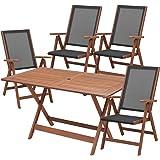 山善(YAMAZEN) ガーデンマスター フォールディング テーブル&チェア(5点セット) MFT-225&MFC-259(4脚)