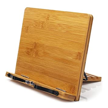 dubens bambú libros de cocina Soporte de lectura, plegable sujetalibros atril con ajuste barem espalda
