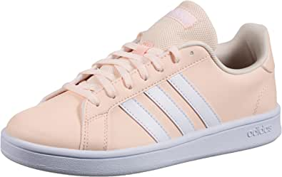 Adidas Grand Court Base Contrast Side Stripe Lace-Up Tennis Shoes for Women