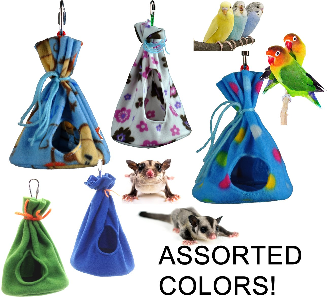 Cozy Sleeper Hideaway/Nesting Pouches for Your Small to Medium-sized Pets (Birds and Mammals) (Medium)