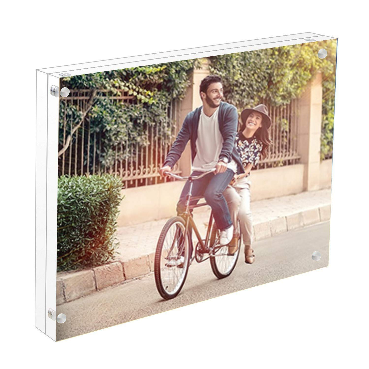 Cq acrylic 8x10 Acrylic Frame, Magnetic Picture Frames, Clear, 10 + 10MM Thickness Stand in Desk/Table,Pack of 1 by Cq acrylic