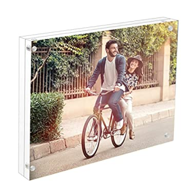 Cq acrylic 8.5 x 11 Acrylic Frame, Magnetic Picture Frames, Clear, 10 + 10MM Thickness Stand in Desk/Table,Pack of 1