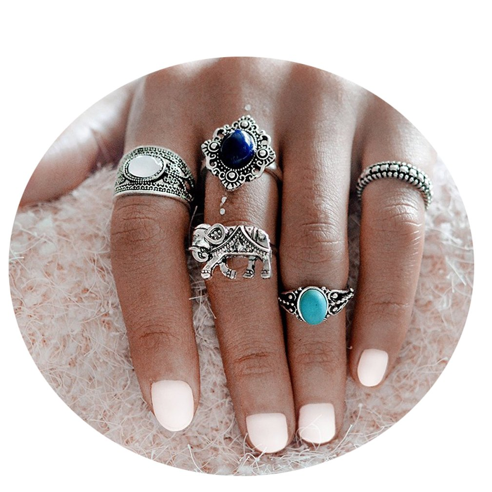 4EAELove Bohemian Midi Ring Set Blue Stone Plated Knuckle Nail Boho Beach Jewelry