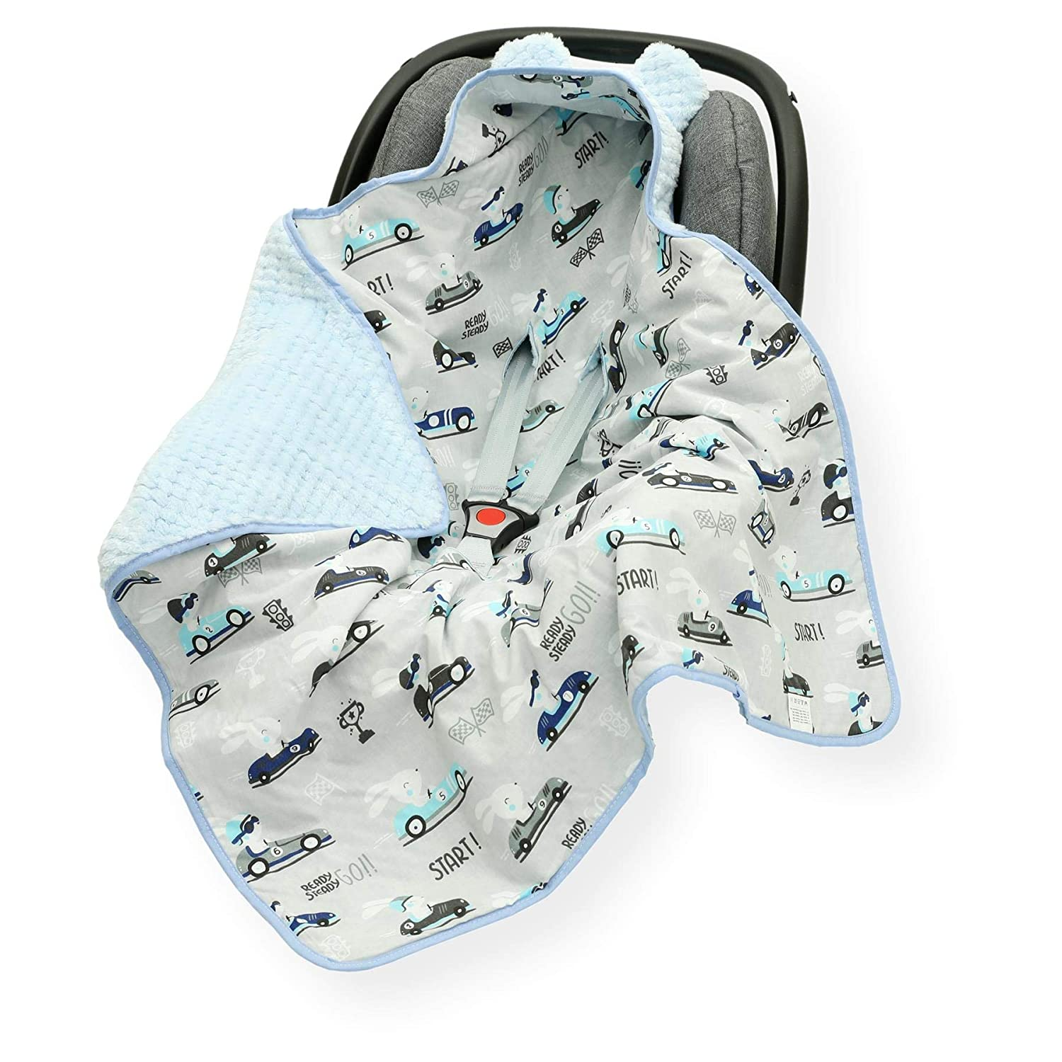 Cars//Blue CAR SEAT Baby Blanket//Footmuff//Cosy Toes//Cotton /& Waffle-Effect Mink Plush 80 x 80cm Dual Layer with Hood