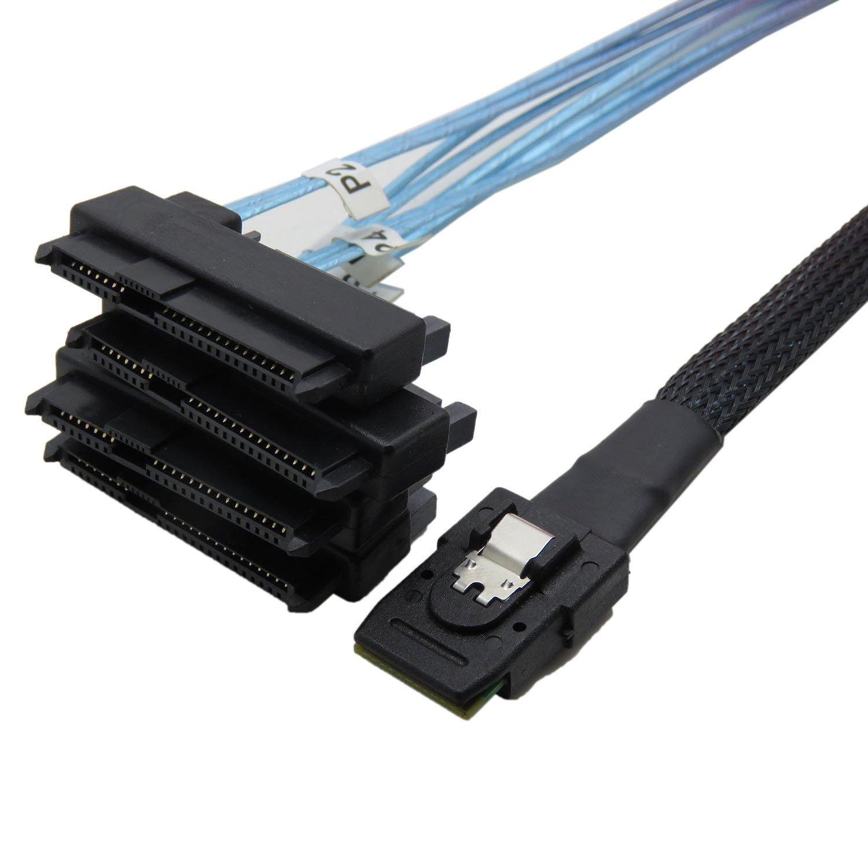 CableDeconn Mini SAS 36 SFF-8087 /à SFF-8482 29P Connecteurs avec alimentation SATA C/âble 1 m 4