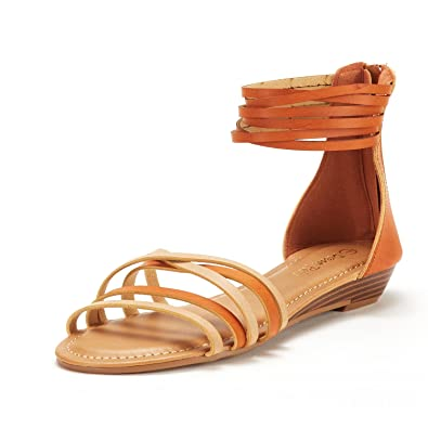 c7a15072672244 DREAM PAIRS Women s JUULY 01 Nude Tan Fashion Ankle Strap Flat Sandals Size  5 ...