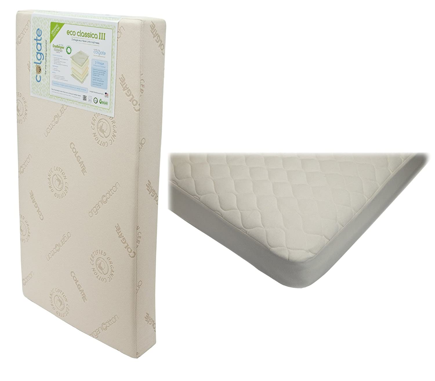 and sided friendlier colgate stage eco cribs mattresses firmness crib classica iii toddler dual mattress