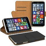 PREMIUM - Book-Style Case für - Nokia Lumia 020 / 025 - Wallet Case Flip Cover Hüllen Schutzhülle Etui Hülle mit Standfunktion Schwarz