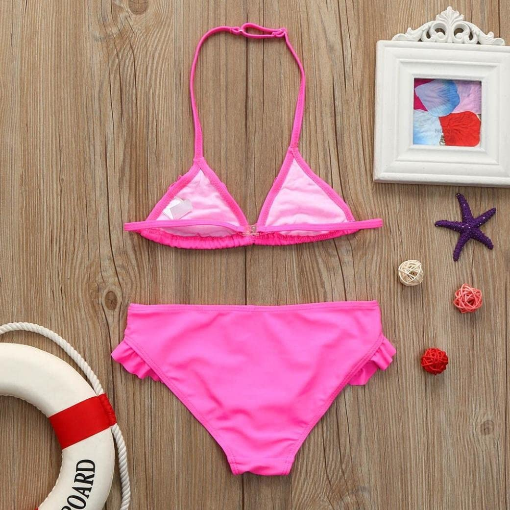 Swimsuit Baby Girls Infant Halter Solid Swimwear Bathing Bikini Skirt Set Elevin TM