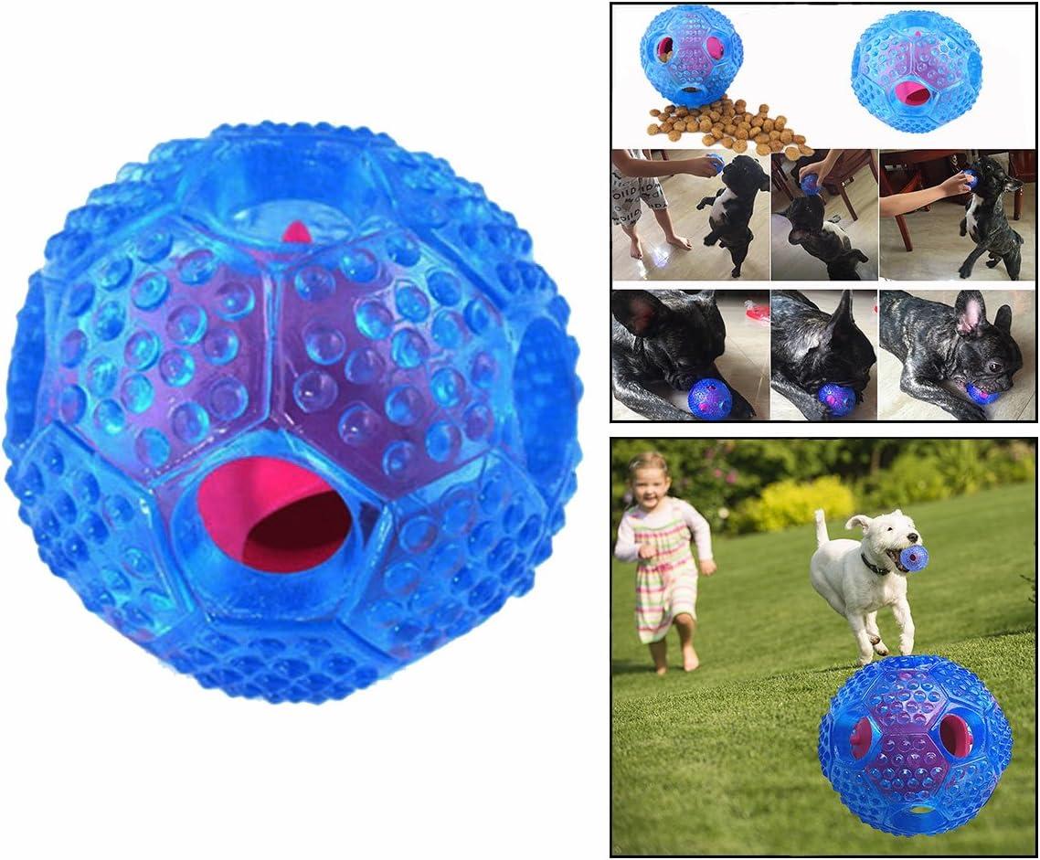 Cisixin Tratar Perro Pelota De Juguete Interactivo Perro IQ Tratar Dispensador Y Juguete Masticable, Azul