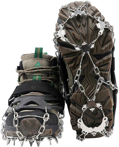Samply Tacos de tracción para Hielo y Nieve, 19 estacas, montañismo, Escalada, crampones para Zapatos, Botas