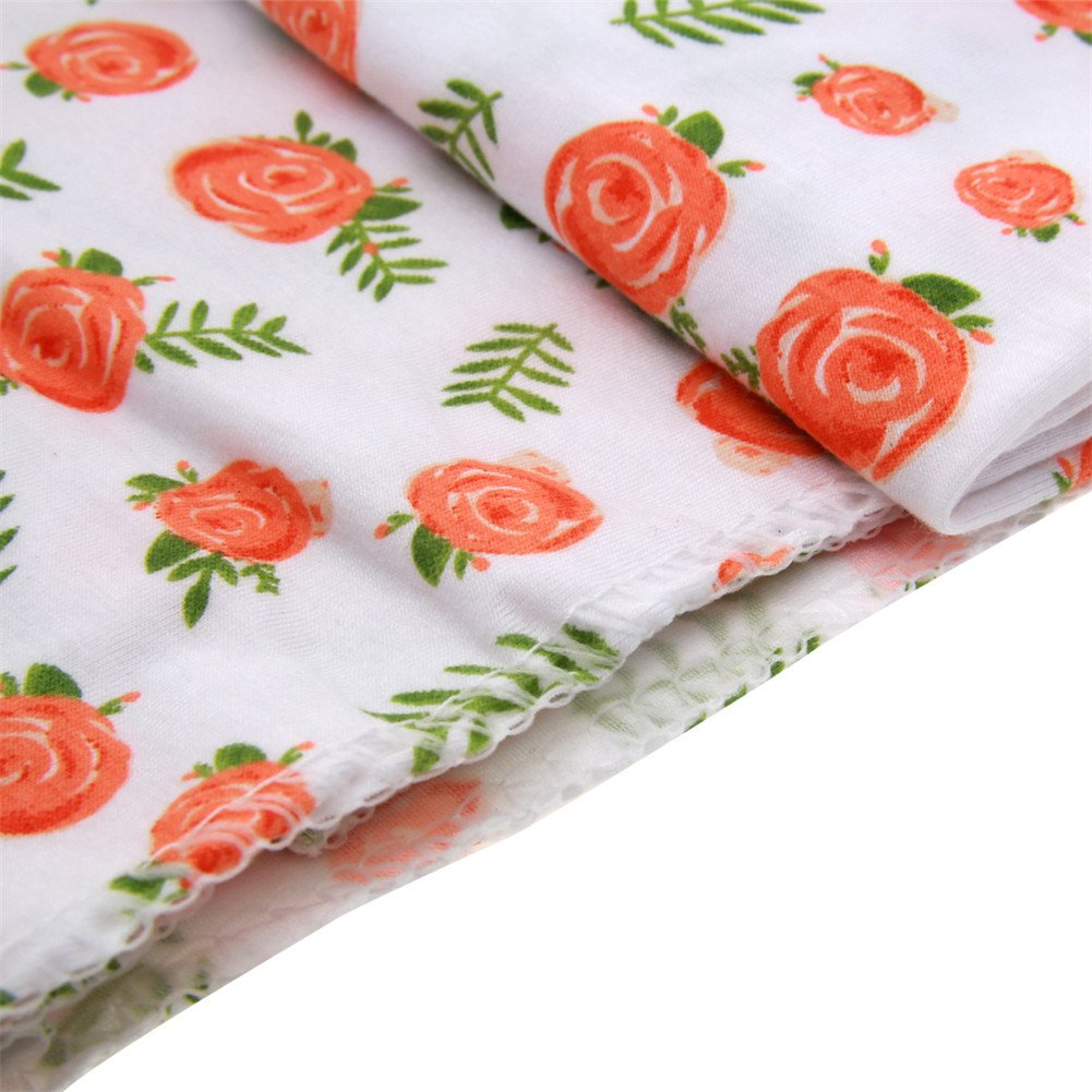 Yfstyle Newborn Baby Swaddle Blanket Headband Set Big Bow Printed Receiving Blanket Photography Props