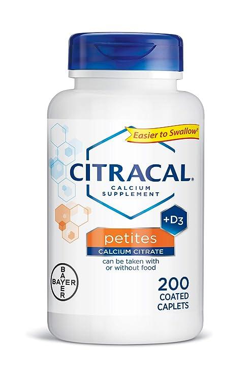 Suplemento de calcio + D3, Petites, 200 cápsulas recubiertas - Citracal