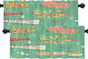 Batmerry Retro Christmas Modern Kitchen Valances Letter Window Curtain, Mid Century Modern Christmas Trees Retro Kitchen Valances for Windows Valance for Decor Reducing The Light 52x18 Inch