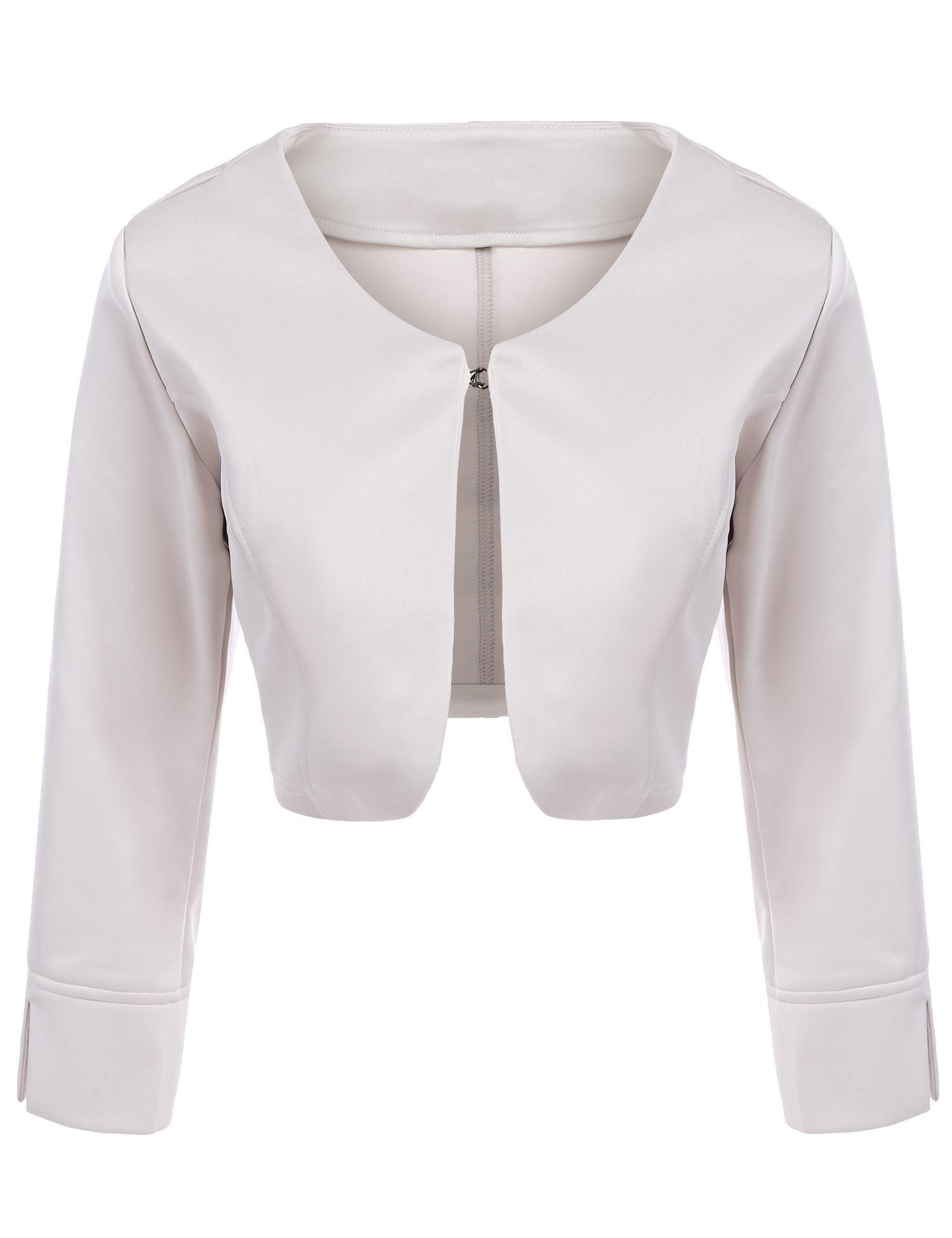 Asatr Women's Long Sleeve Dressy Open Front Bolero Shrug Top Jacket