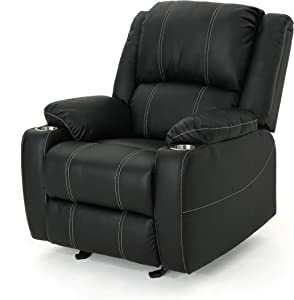 Christopher Knight Home Sarina Traditional Leather Recliner with Steel Cup Holders, Black / Black