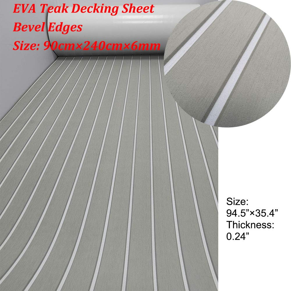 yuanjiasheng Second Generation Upgrade EVA Faux Teak Decking Sheet For Boat Yacht Non-Slip 94.5''× 35.4'' Bevel Edges (light grey with white lines)