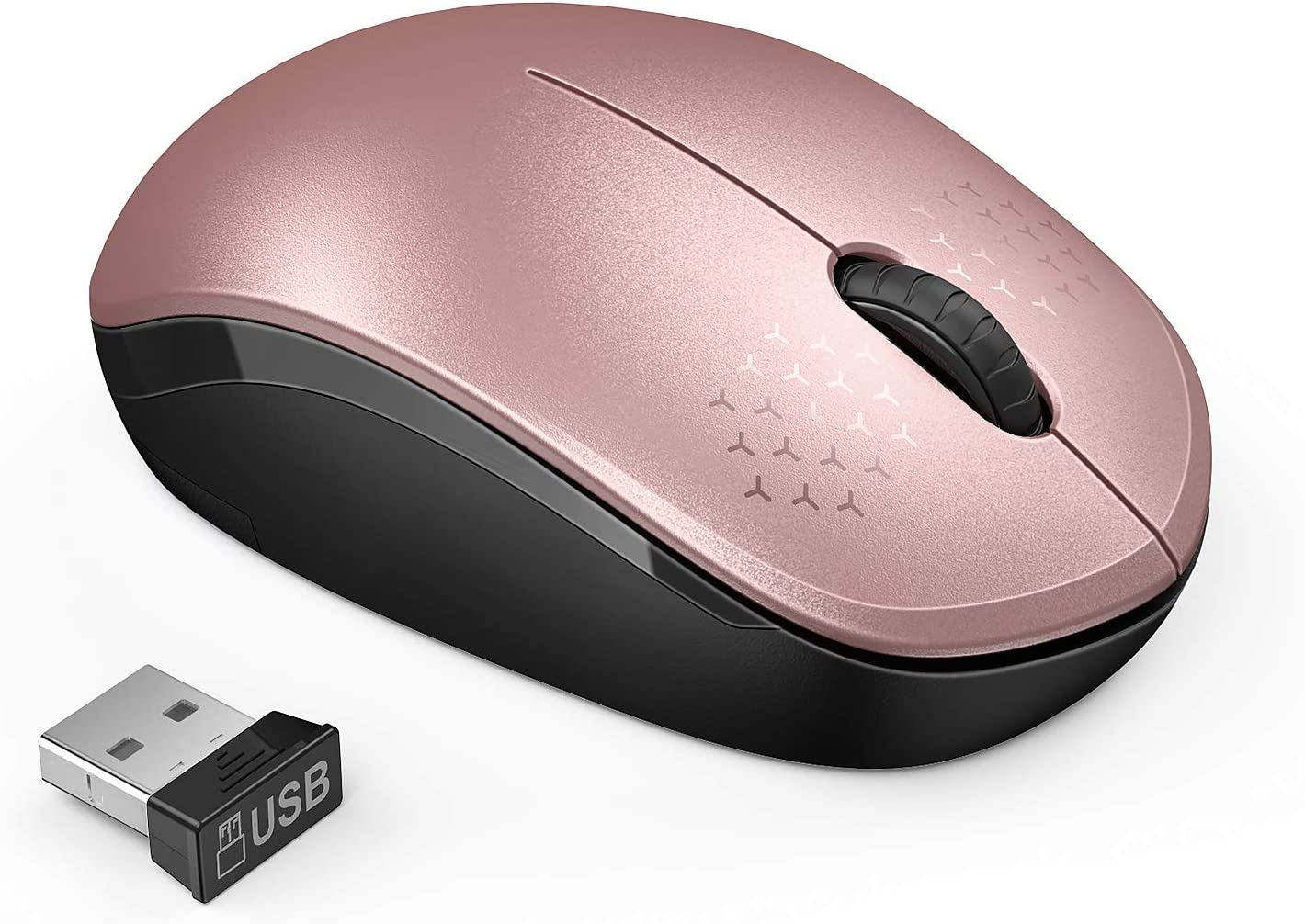seenda Wireless Mouse, 2.4G Noiseless Mouse with USB Receiver Portable Computer Mice for PC, Tablet, Laptop, Notebook - Rose Gold&Black