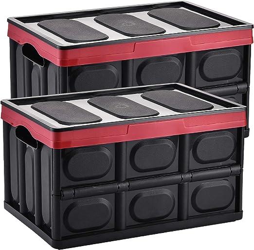 Yorbay Cajas de Almacenamiento Plegables de Plástico, 2 Unidades Cubos de almacenaje con Tapa (Negro, 55L): Amazon.es: Hogar