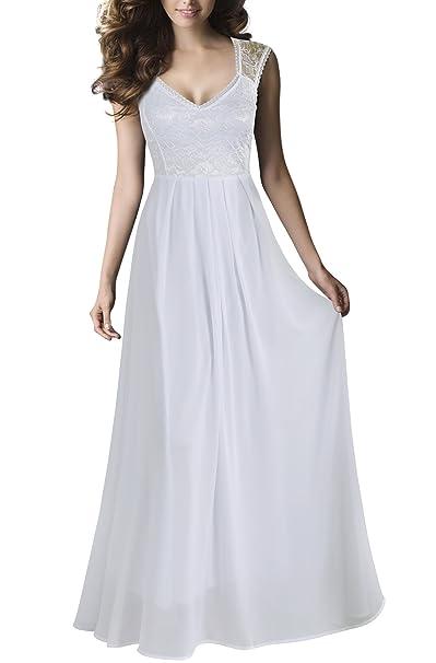 REPHYLLIS Mujeres Sexy Vintage Fiesta Boda Dama de Honor Vestido de cóctel Formal - Blanco -