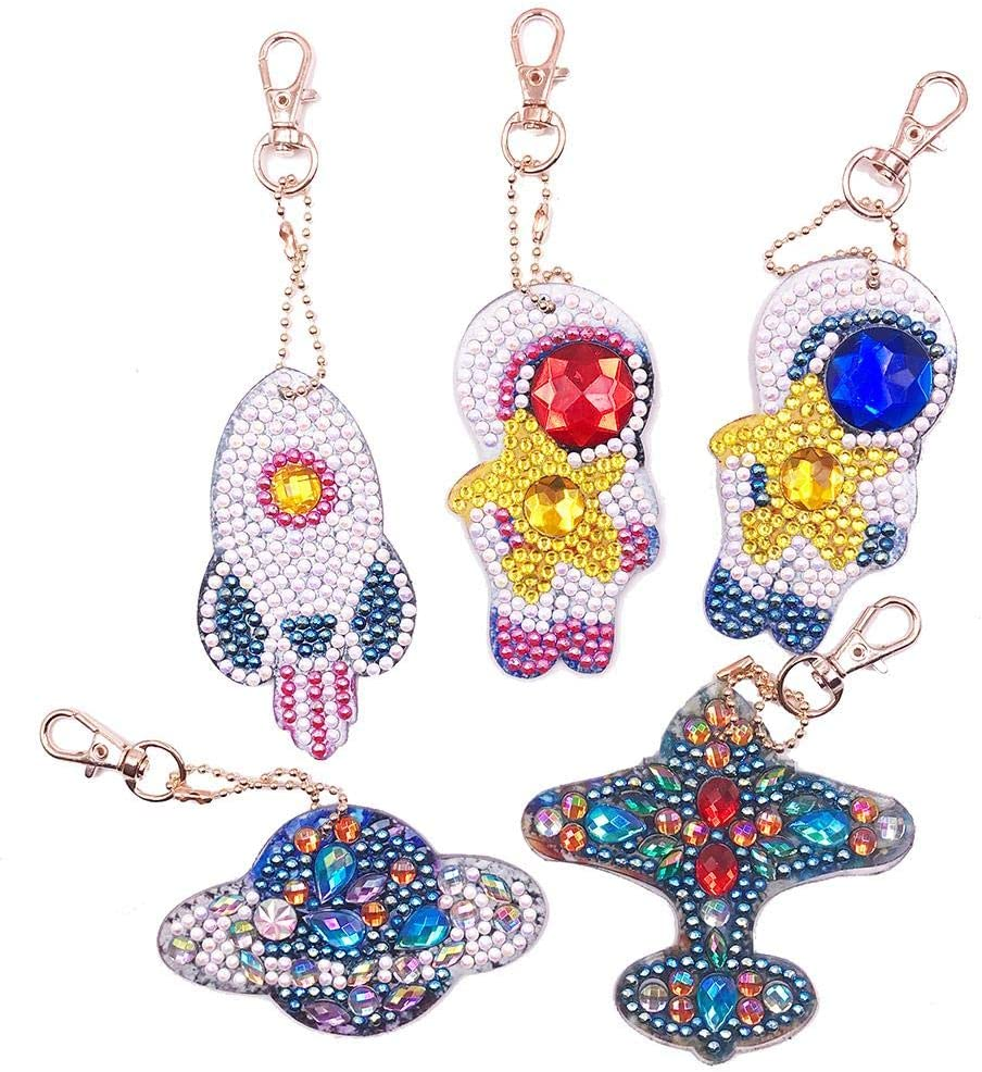 Jestang Diamond Painting Keychain DIY 5D Full Drill Pendant Mosaic Making Key Ring Arts Crafts Car 5 Pcs