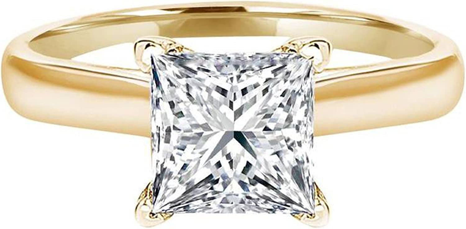 2.0 CT Princess brilliant Cut Simulated Diamond CZ Solitaire Engagement Wedding Ring 14k Yellow Gold