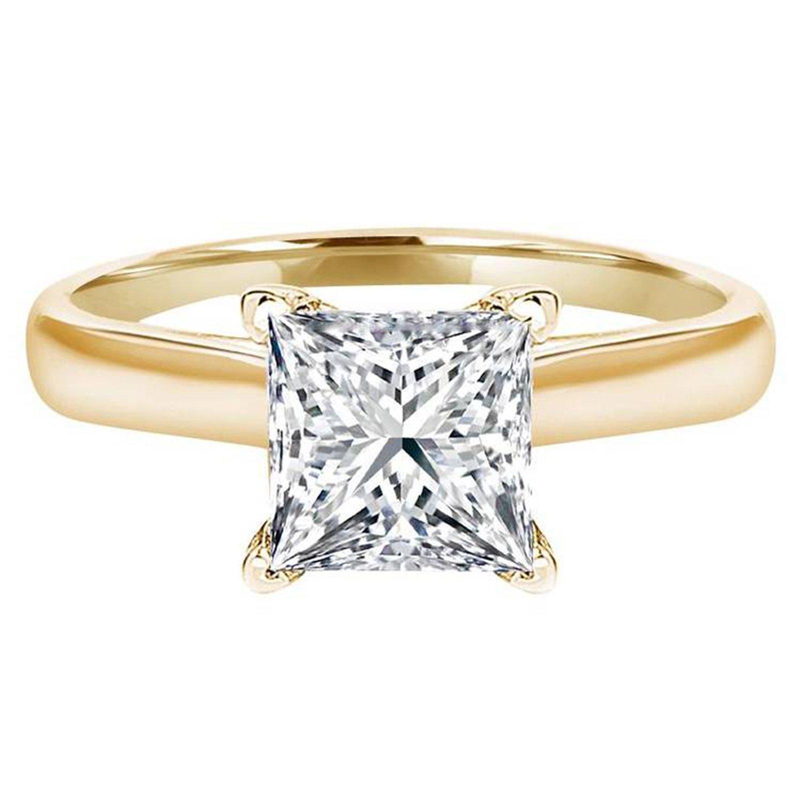 0.7 Ct Princess Brilliant Cut Solitaire Engagement Wedding Bridal Anniversary Ring 14K Yellow Gold, Size 9, Clara Pucci